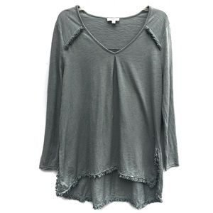 Umgee | Sage Green Fringe Long Sleeve Tunic Top